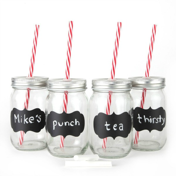 Chalkboard Mason Jar Mugs with Tin Lid, Plastic Straws