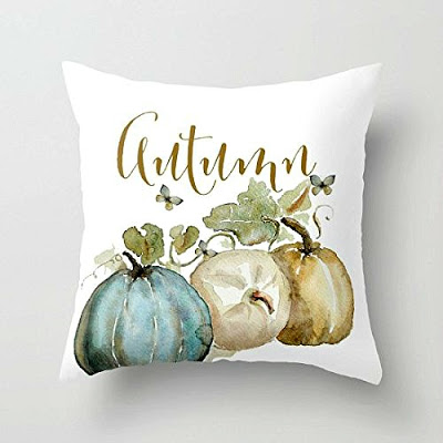 Autumn Blue Pumpkin Pillow Cover featured on Walking on Sunshine.