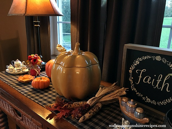 Ceramic Pumpkin and Fall Decor on Dining Room Side Board from Walking on Sunshine Recipes