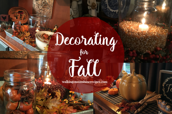 Decorating for Fall from Walking on Sunshine Recipes.