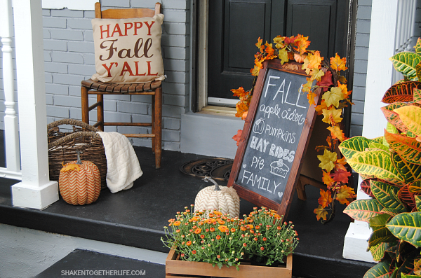 Fall Front Porch with Pillows from Shaken Together