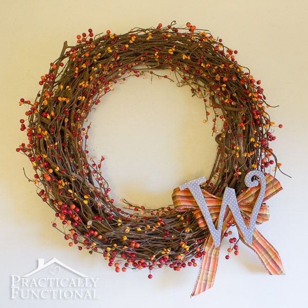 Fall Monogram Wreath from Practically Functional