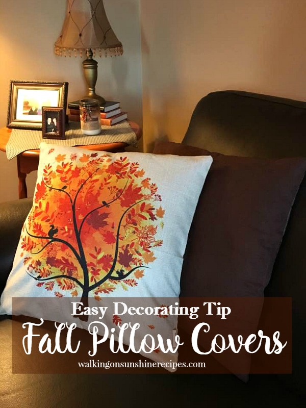 Pillow covers are an easy way to decorate for Fall from Walking on Sunshine Recipes.