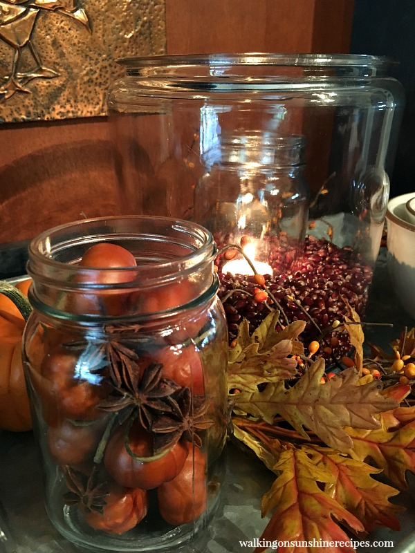 Glass Jars filled with Pumpkins and Seeds from Walking on Sunshine Recipes