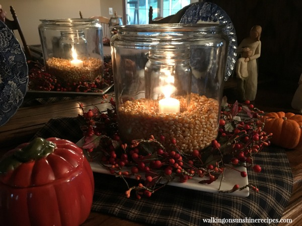 Glass Jar with Candle and Popcorn from Walking on Sunshine Recipes