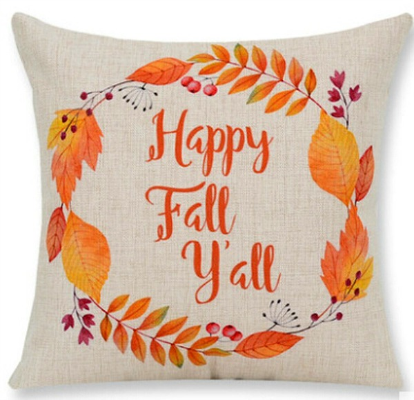 Happy Fall Pillow featured on Walking on Sunshine