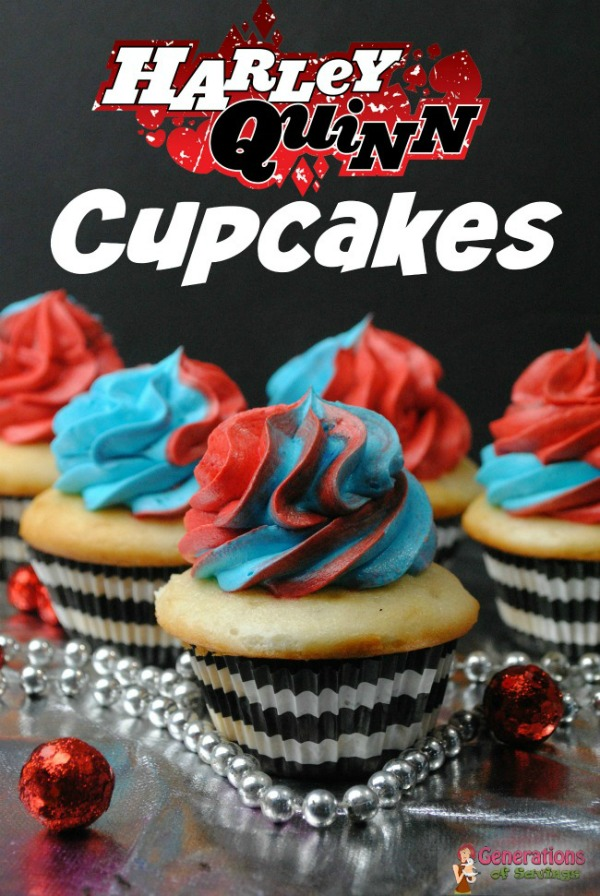 Harley Quinn Cupcakes from Generations of Savings.