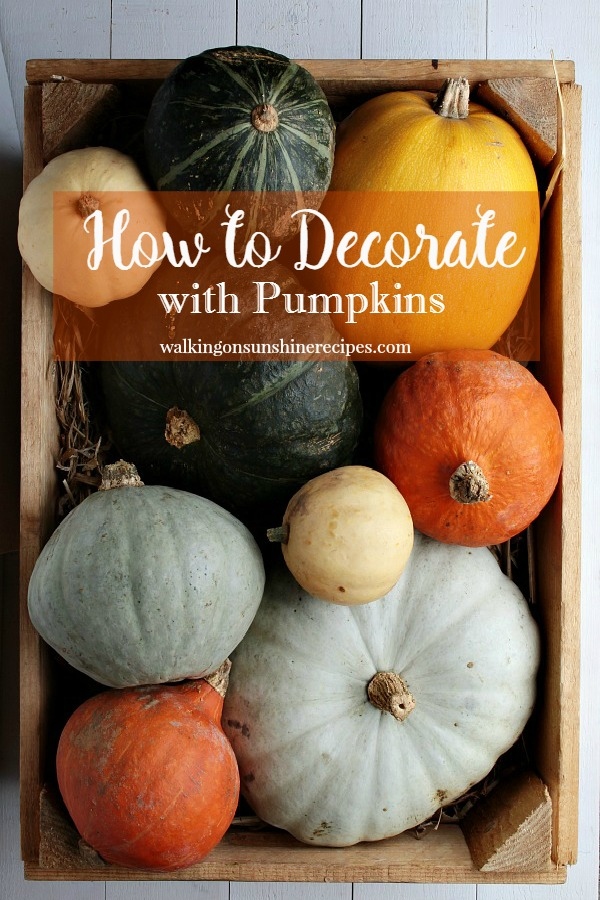 Multicolored pumpkins in a wooden bowl are perfect for Fall from Walking on Sunshine.