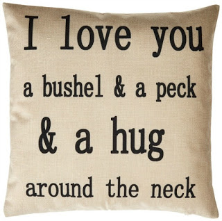 I love you a bushel pillow Cover featured on Walking on Sunshine.