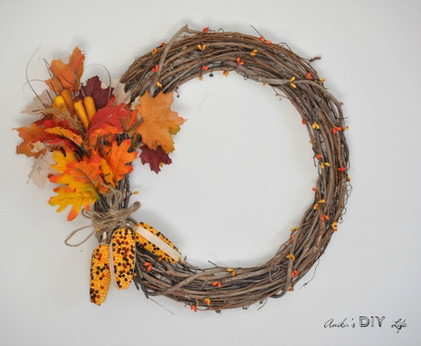 Diy Fall Wreath with Fall Corn from Anika's DIY Life