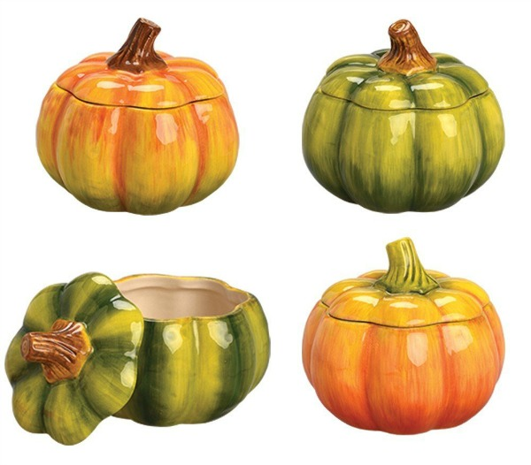 Multi colored ceramic pumpkins featured on Walking on Sunshine