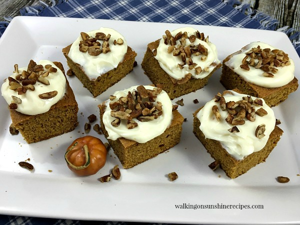 Pumpkin Spice Bars from Walking on Sunshine Recipes