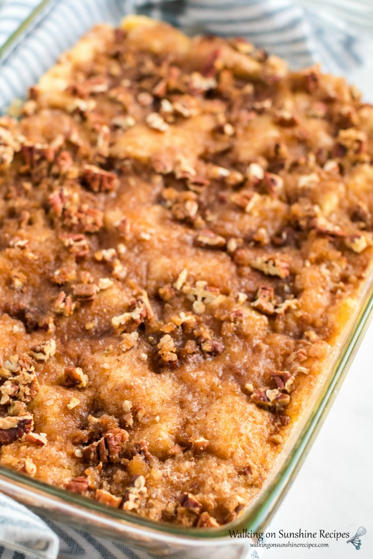 Closeup of Overnight French Toast Breakfast Casserole