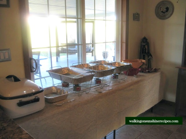 Set up the buffet the day before from Walking on Sunshine Recipes.