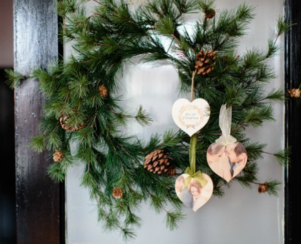 photoboard ornaments hung on a christmas wreath featured on walking on sunshine - Cyber Monday Christmas Decorations