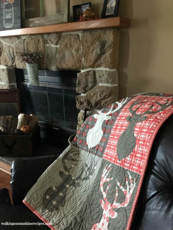 Stitched Quilt by fireplace featured on Walking on Sunshine Recipes