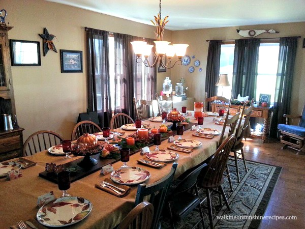 Thanksgiving Table full view 2015 from Walking on Sunshine Recipes