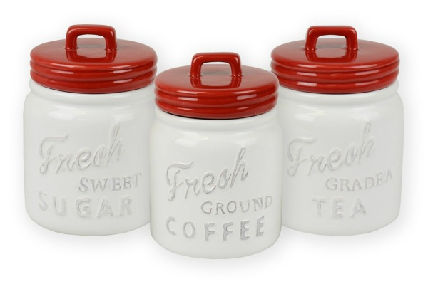 White Canister Set with Red Lids