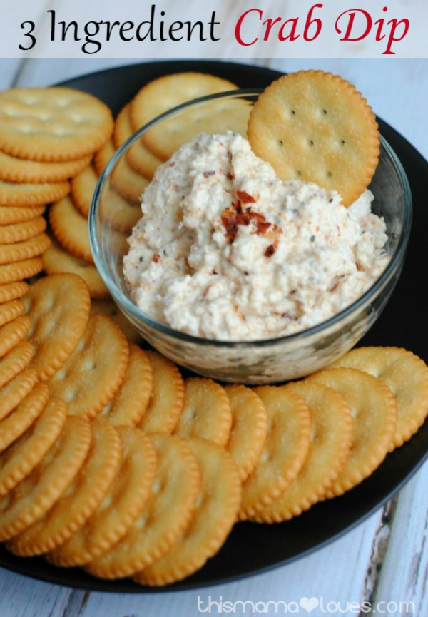 3 Ingredient Crab Dip from This Mama Loves