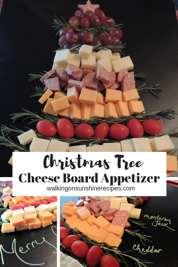 Christmas Tree Cheese Board Appetizer to serve to guests this holiday season!