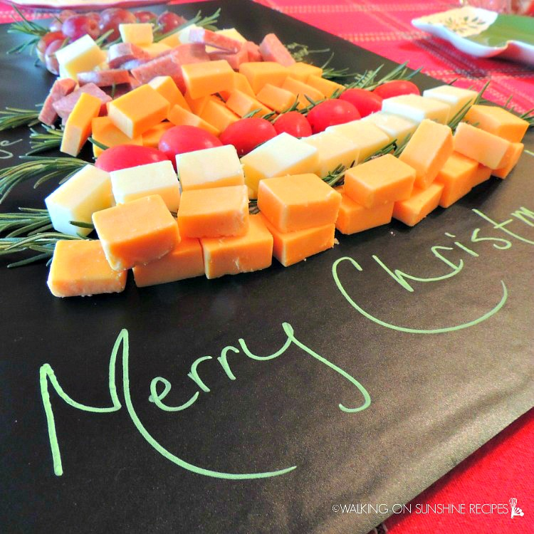 Christmas tree meat and cheese tray