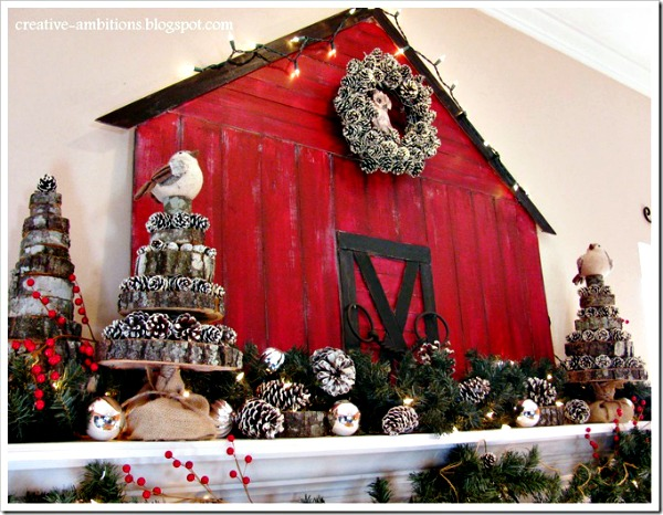 christmas barn mantel from creative ambitions - Barn Christmas Decorations