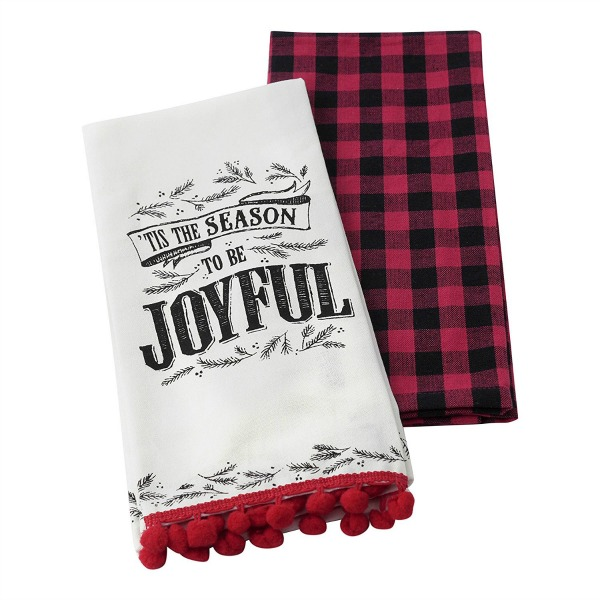 Guest room Christmas plaid towels