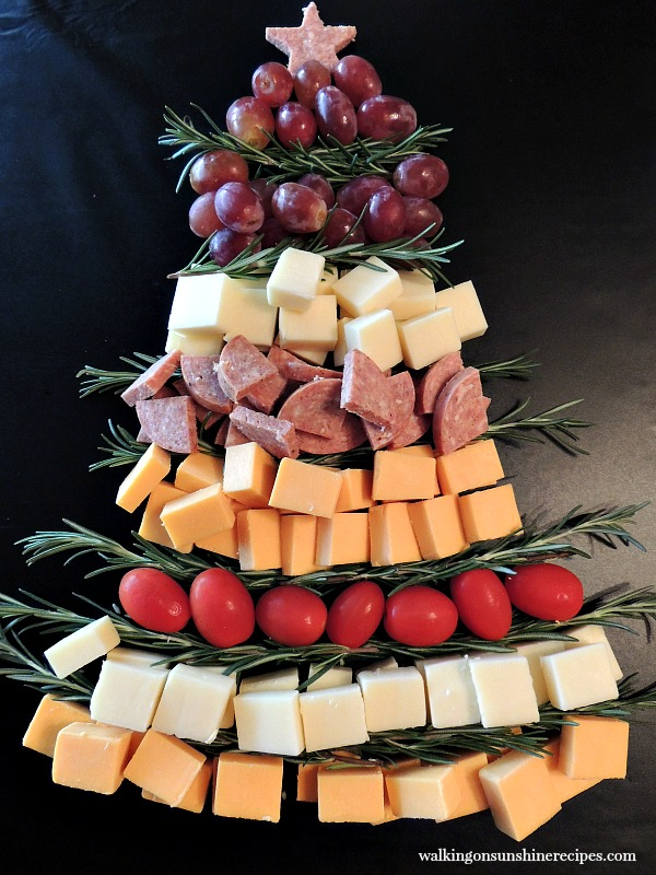 Appetizer: Christmas Tree Cheese Board Platter from Walking on Sunshine Recipes