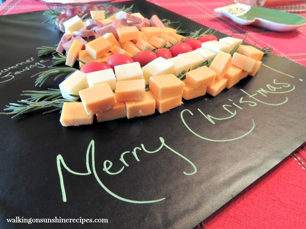 Close up of Christmas Tree Cheese Board Platter with Labels from Walking on Sunshine Recipes