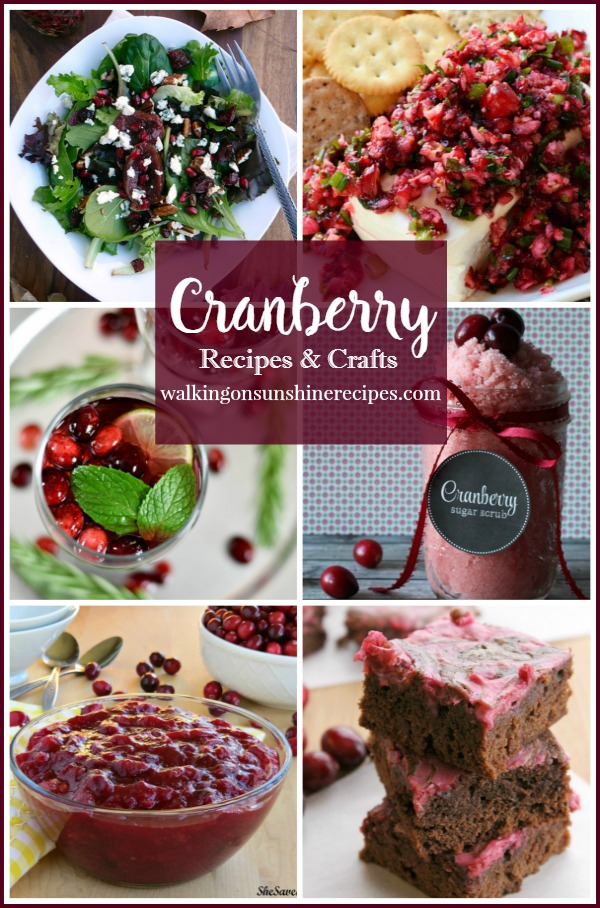Cranberry Recipes for the Holidays and Foodie Friends Friday featured on Walking on Sunshine Recipes.