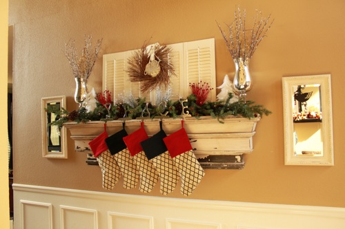 Decorative Ledge as Christmas Mantel from Decor Chick