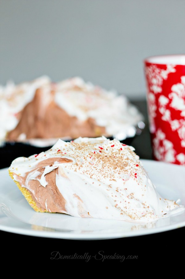 Easy Peppermint Chocolate Cream Pie from Domestically Speaking
