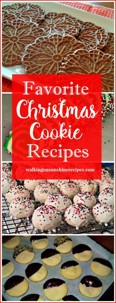 My favorite Christmas cookie recipes and a recipe for Italian Ricotta Cookies from Walking on Sunshine.