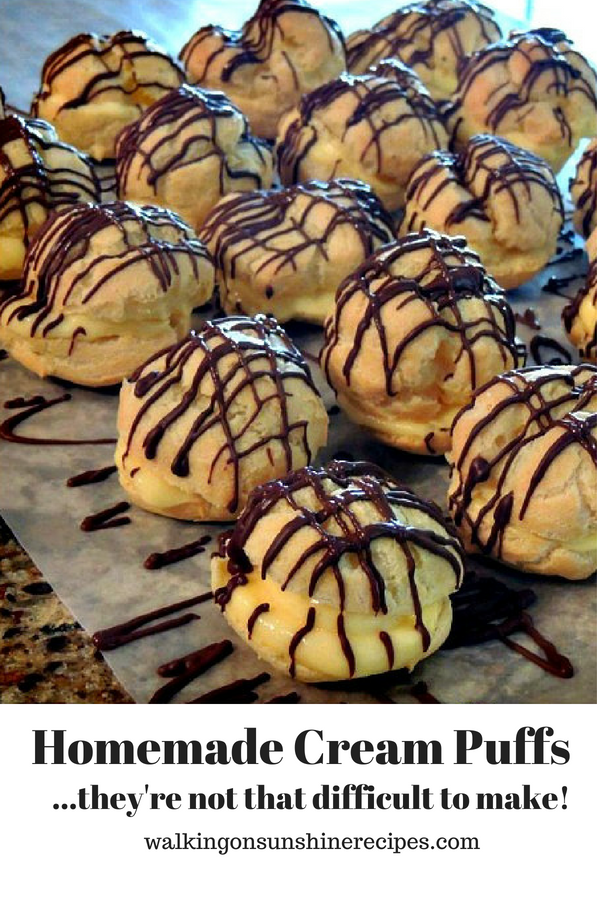Homemade Cream Puffs filled with Vanilla Pudding and Chocolate Drizzled on top from Walking on Sunshine Recipes.
