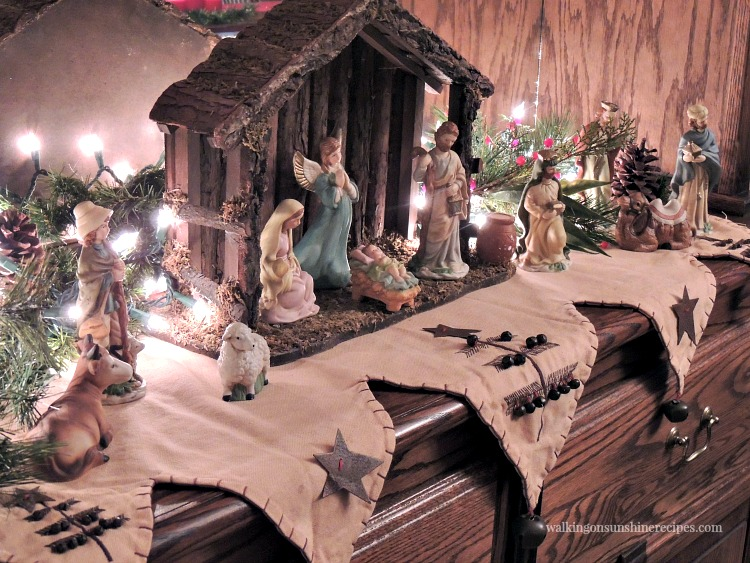 Nativity Set on Dining Room Hutch