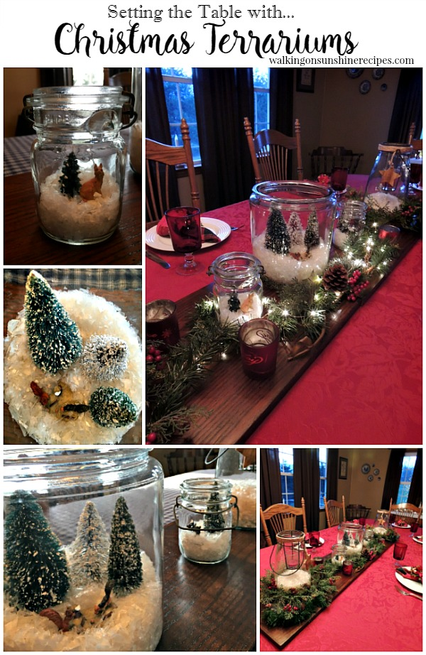How to Set the Table using Christmas Terrariums from Walking on Sunshine