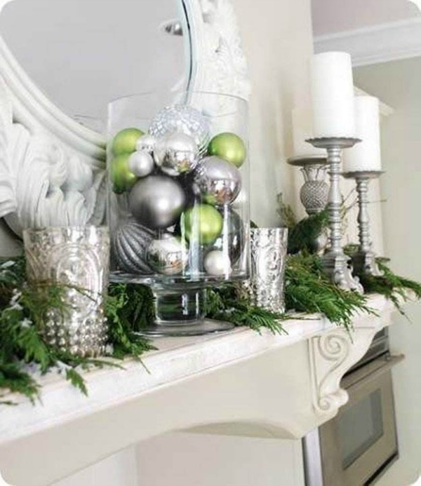 Silver and Green Mantel Decor from Centsational Girl