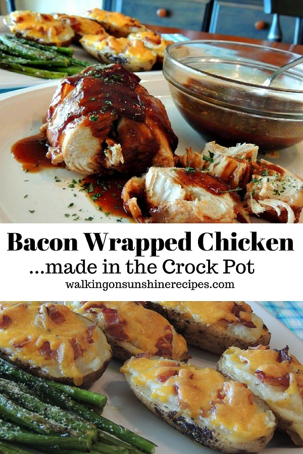 Easy and Delicious Bacon Wrapped BBQ Crock Pot Chicken from Walking on Sunshine Recipes