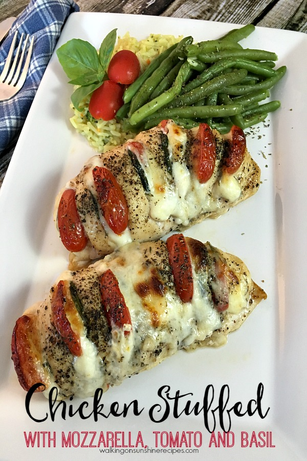 Hasselback Chicken Stuffed with Mozzarella, Basil and Tomato from Walking on Sunshine