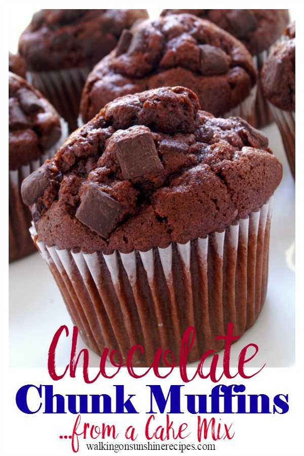 Chocolate Chunk Muffins from a Cake Mix from Walking on Sunshine