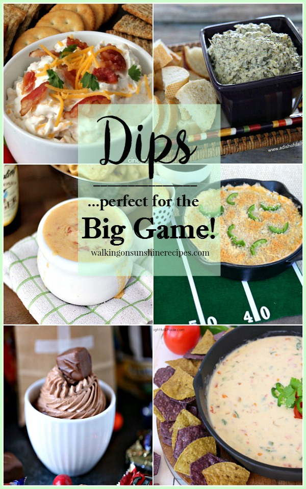 Dips Perfect for the Super Bowl featured on Walking on Sunshine