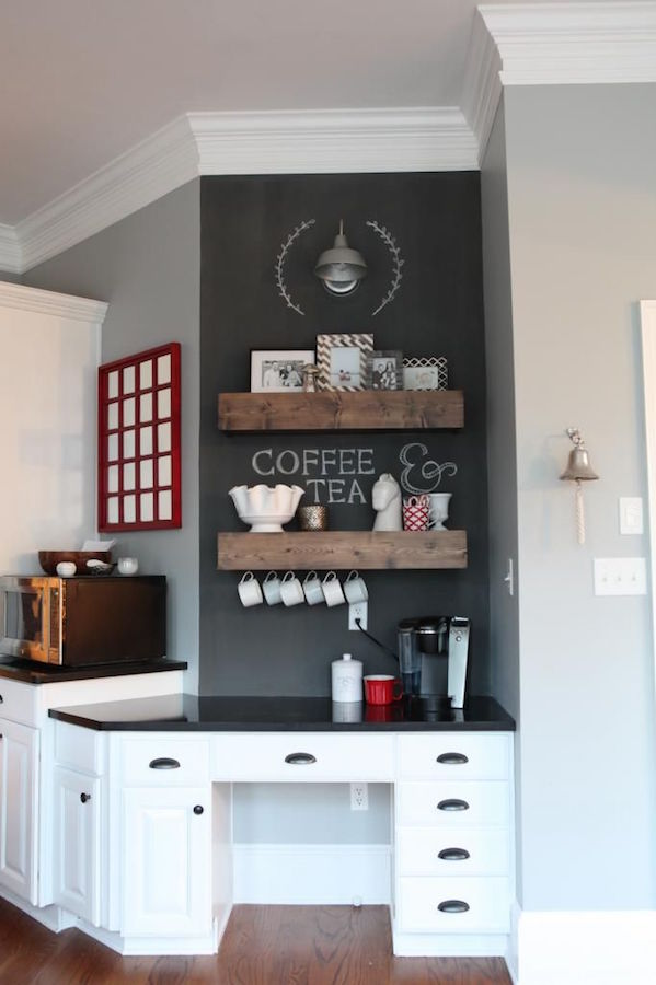 Desk Turned Coffee Bar from Bower Power Blog