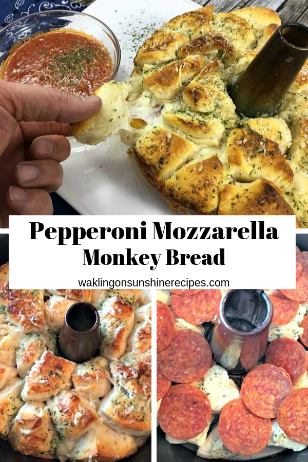 Pepperoni Mozzarella Monkey Bread is filled with pepperoni, garlic butter and cheese perfect for the weekend games or fun at home with the family!