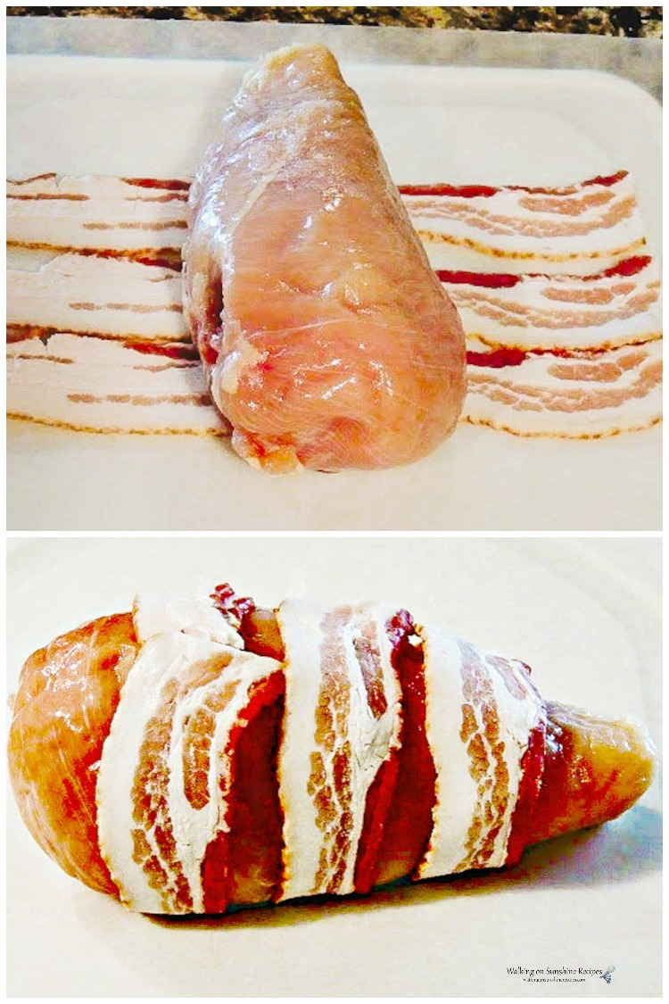 chicken breasts wrapped in bacon.