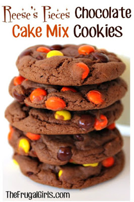 Reeses Pieces Chocolate Cake Mix Cookies from The Frugal Girls