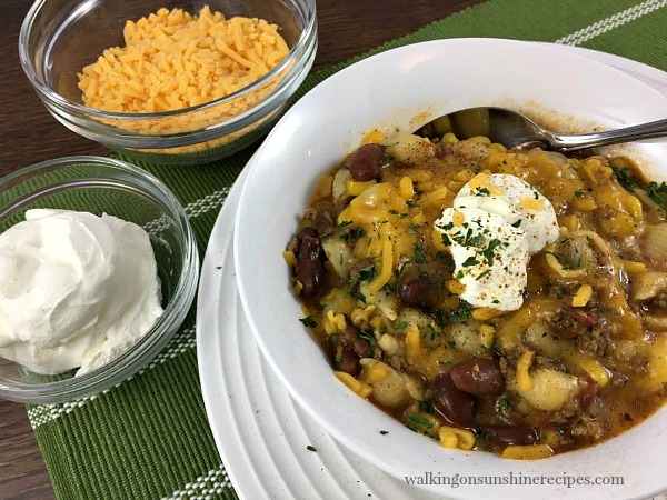 Cheesy Chili Pasta is a one pot casserole recipe from Walking on Sunshine.