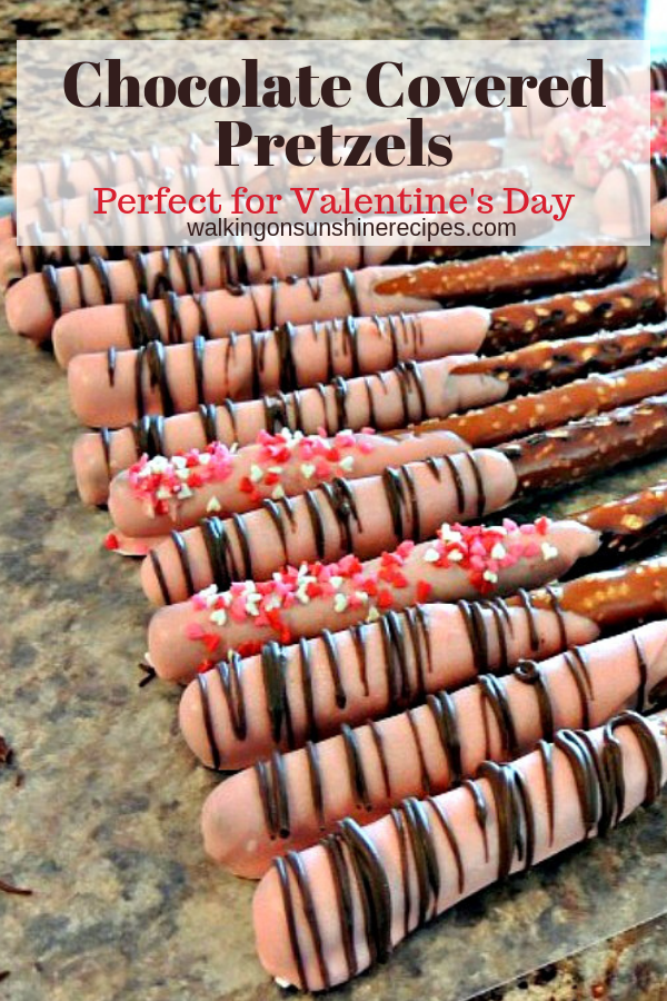Chocolate Covered Pretzels are the perfect treat for Valentine's Day. Decorate them with your favorite colored sprinkles and melted chocolate.
