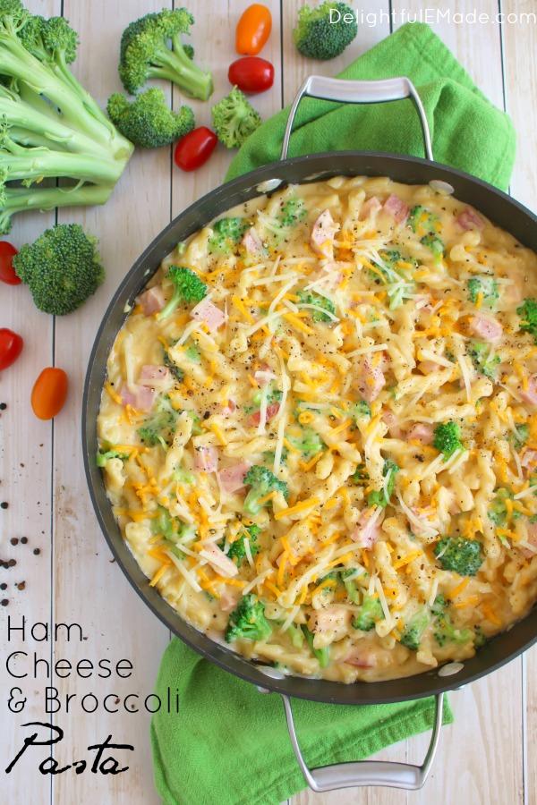 Ham and Cheese Broccoli Pasta from Delightful E Made
