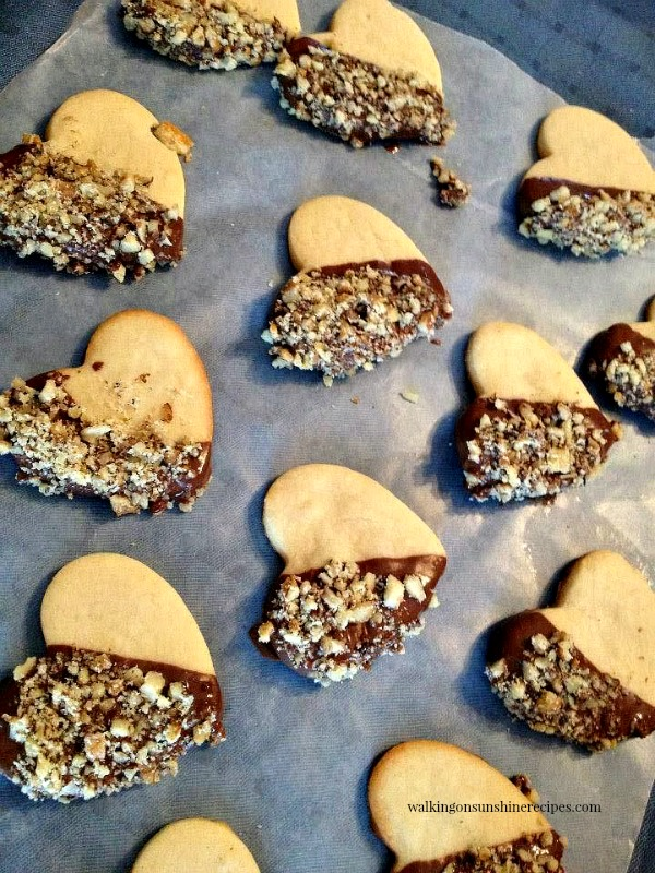 Heart Shaped Shortbread cookies dipped in melted chocolate from Walking on Sunshine.