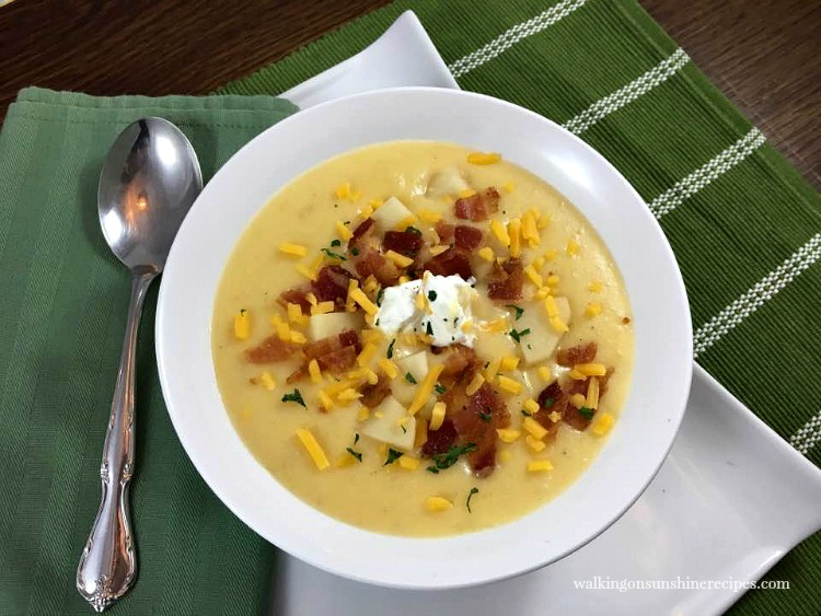 Homemade Loaded Potato Soup from Walking on Sunshine Recipes FEATURED photo June 2018